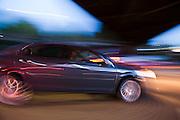 A car speeds down a highway outside Portland, Oregon,
