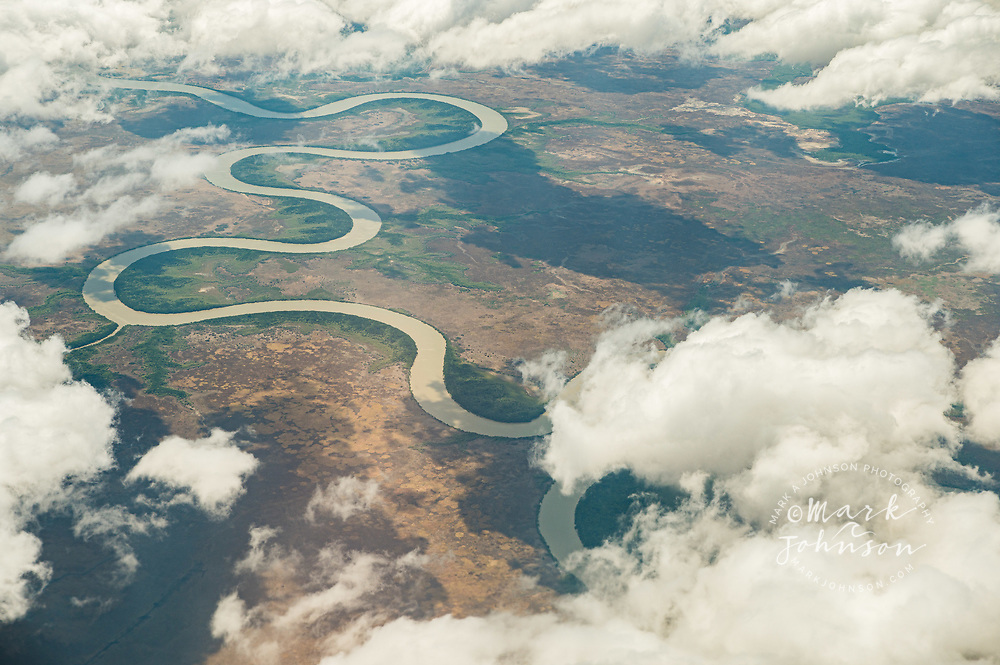 Aerial view of the S-curves on the Adelaide River, Northern Territory,  Australia