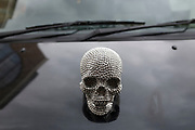 Metallic skull bonnet badge on the hood of a taxi. This small human head is styled on the Damien Hirst diamond skull, a world reknowned artwork. London, UK.