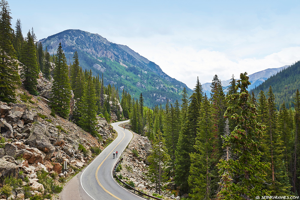 Cyclists ride up Independence Pass near Aspen, Colorado.