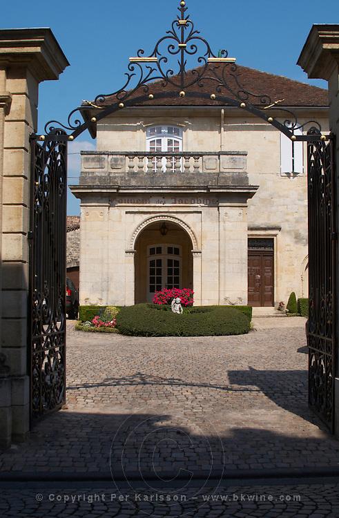 gate front court yard couvent des jacobins saint emilion bordeaux france