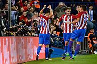 Atletico de Madrid's player Yannick Carrasco, Saúl Ñígez and Lucas Hernández celebrating a goal during a match of La Liga Santander at Vicente Calderon Stadium in Madrid. October 29, Spain. 2016. (ALTERPHOTOS/BorjaB.Hojas)
