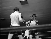 Nash vs Leon Championship Fight.    (N55)..1980..14.12.1980..12.14.1980..14th December 1980..At the Burlington Hotel, Dublin, Charlie Nash defended his European Lightweight Title when he took on Spain's Francesco Leon. .Picture shows the fighters sizing each other up as the referee looks on.