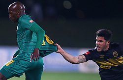 Roland Putsche of Cape Town City has hold of Lehlohonolo Nonyane of Golden Arrows during the 2016 Premier Soccer League match between Golden Arrows and Cape Town City FC held at the Prince Magogo Stadium in Durban, South Africa on the 14th September 2016<br /> <br /> Photo by:   Steve Haag / Real Time Images