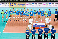 Players of Slovenia during volleyball match between Slovenia and Slovakia in CEV European League Women on June 22, 2016 in Stozice, Ljubljana, Slovenia. Photo by Morgan Kristan / Sportida