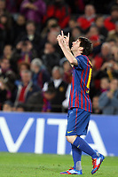 07.03.2012 Barcelona, Spain. Barcelona v Bayern Leverkusen. Lionel Messi celebrates first goal during the Champions League 2nd leg game played at the Nou Camp.