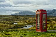 Telephone kiosk in remote location in Scotland, UK