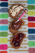 three home made sandwiches with chocolate spread, jam and Halva