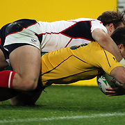 Anthony Fainga'a, Australia, scores a try during the Australia V USA, Pool C match during the IRB Rugby World Cup tournament. Wellington Stadium, Wellington, New Zealand, 23rd September 2011. Photo Tim Clayton...
