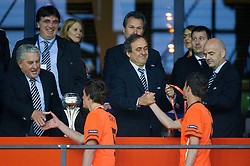 UEFA Youth and Amateur Football Committee chairman Jim Boyce and Michel Platini, president of UEFA at trophy ceremony after the UEFA European Under-17 Championship Final match between Germany and Netherlands on May 16, 2012 in SRC Stozice, Ljubljana, Slovenia. Netherlands defeated Germany after penalty shots and became European Under-17 Champion 2012. (Photo by Vid Ponikvar / Sportida.com)
