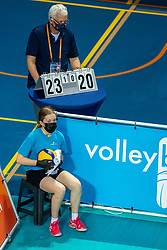 Floorcrew in action during the CEV Eurovolley 2021 Qualifiers between Sweden and Netherlands at Topsporthall Omnisport on May 14, 2021 in Apeldoorn, Netherlands
