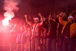 Fans of Jesenice celebrate at 6th Round of ice-hockey Slovenian National Championships match between HDD Tilia Olimpija and HK Acroni Jesenice, on April 2, 2010, Hala Tivoli, Ljubljana, Slovenia.  Acroni Jesenice won 3:2 after overtime and became Slovenian National Champion 2010. (Photo by Vid Ponikvar / Sportida)