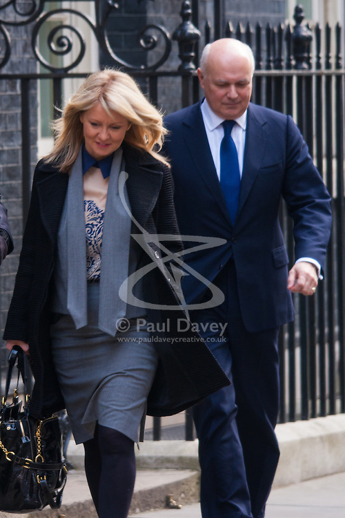 London, March 18th 2015. Members of the Cabinet gather at Downing street for their weekly meeting. PICTURED: Esther McVey and Iain Duncan-Smith.