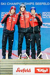 02.03.2019, Seefeld, AUT, FIS Weltmeisterschaften Ski Nordisch, Seefeld 2019, Skisprung, Herren, Siegerehrung, im Bild v.l. Silbermedaillengewinner Kamil Stoch (POL), Weltmeister und Goldmedaillengewinner Dawid Kubacki (POL), Bronzemedaillengewinner Stefan Kraft (AUT) // f.l. Silver medalist Kamil Stoch of Poland World champion and Gold medalist Dawid Kubacki of Poland Bronce medalist Stefan Kraft of Austria during the winner ceremony for the men's Skijumping HS109 competition of FIS Nordic Ski World Championships 2019. Seefeld, Austria on 2019/03/02. EXPA Pictures © 2019, PhotoCredit: EXPA/ Stefan Adelsberger