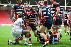 Luke Arscott of Bristol Rugby celebrates scoring a try after a big drive from his pack - Rogan Thomson/JMP - 11/12/2016 - RUGBY UNION - Ashton Gate Stadium - Bristol, England - Bristol Rugby v Pau - European Rugby Challenge Cup.