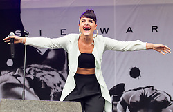 © Licensed to London News Pictures . 20/07/2013 . Suffolk , UK . Jessie Ware performs on the Obelisk Stage . The Latitude music and culture festival in Henham Park , Southwold . Photo credit : Joel Goodman/LNP