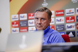 September 13, 2017 - Kiev, Ukraine - Dynamo Kyiv's coach Aleksandr Khatskevich attends a news conference in Kyiv, Ukraine, September 13, 2017. FC Dynamo Kyiv gets the last preparation before the game against Albanian Skenderbeu in the UEFA Europa League Group B opener. (Credit Image: © Sergii Kharchenko/NurPhoto via ZUMA Press)