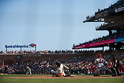 San Francisco Giants right fielder Hunter Pence (8) falls to the ground to avoid a wild pitch by the Philadelphia Phillies at AT&T Park in San Francisco, California, on August 20, 2017. (Stan Olszewski/Special to S.F. Examiner)