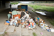 house and belongings of a homeless person under a bridge in Kyoto Japan