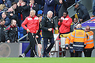 Alan Pardew, the Crystal Palace manager shows his delight as he celebrates in the dugout after Jason Puncheon of Crystal Palace scores his sides 1st goal to make it 1-0. Barclays Premier League match, Crystal Palace v Norwich city at Selhurst Park in London on Saturday 9th April 2016. pic by John Patrick Fletcher, Andrew Orchard sports photography.