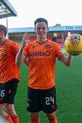 Dundee United's Lawrence Shankland cele at the end with the match ball after his hatrick. Dundee United 6 v 0 Morton, Scottish Championship game played 28/9/2019 at Dundee United's stadium Tannadice Park.