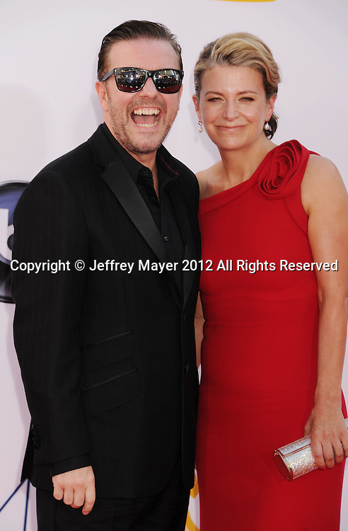 LOS ANGELES, CA - SEPTEMBER 23: Ricky Gervais and Jane Fallon arrive at the 64th Primetime Emmy Awards at Nokia Theatre L.A. Live on September 23, 2012 in Los Angeles, California.