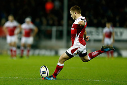 Ulsters' Paddy Jackson attempts a conversion during the European Champions Cup, pool five match at the Sandy Park, Exeter.