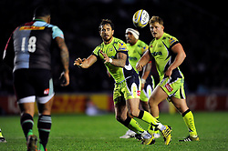 Danny Cipriani of Sale Sharks receives the ball - Mandatory byline: Patrick Khachfe/JMP - 07966 386802 - 06/11/2015 - RUGBY UNION - The Twickenham Stoop - London, England - Harlequins v Sale Sharks - Aviva Premiership.
