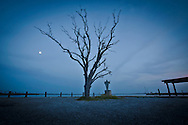 Full moon over Bayou Pointe -au-Chien at the boat  launch in Pointe-aux-Chien Louisiana.