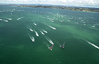 RACE FIVE IS FINALLY UNDER WAY AS THE BOATS START OUT FAIRLY EVEN, BUT WHICH IS TO PROVE TO BE ALINGHI'S VICTORY.
