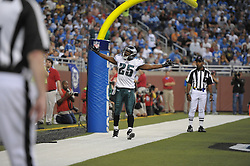 DETROIT - SEPTEMBER 19: Running back LeSean McCoy #25 of the Philadelphia Eagles celebrates after scoring his second rushing touchdown during the game against the Detroit Lions on September 19, 2010 at Ford Field in Detroit, Michigan. The Eagles won 35-32. (Photo by Drew Hallowell/Getty Images)  *** Local Caption *** LeSean McCoy