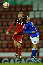 Bristol City U18s Will Cline competes in the air during the first half of the match - Photo mandatory by-line: Rogan Thomson/JMP - Tel: Mobile: 07966 386802 - 04/12/2012 - SPORT - FOOTBALL - Ashton Gate Stadium - Bristol. Bristol City U18 v Ipswich Town U18 - FA Youth Cup Third Round Proper.
