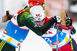 February 22, 2019 - Seefeld In Tirol, AUSTRIA - 190222 Eric Frenzel of Germany and Jan Schmid of Norway celebrate after the men's nordic combined 10 km Individual Gundersen during the FIS Nordic World Ski Championships on February 22, 2019 in Seefeld in Tirol..Photo: Vegard Wivestad Grøtt / BILDBYRÃ…N / kod VG / 170288 (Credit Image: © Vegard Wivestad GrØTt/Bildbyran via ZUMA Press)