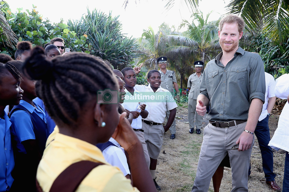 Prince Harry meets school children during a visit to a Turtle Conservation Project at Colonarie Beach, Saint Vincent and the Grenadines, during the second leg of his Caribbean tour.