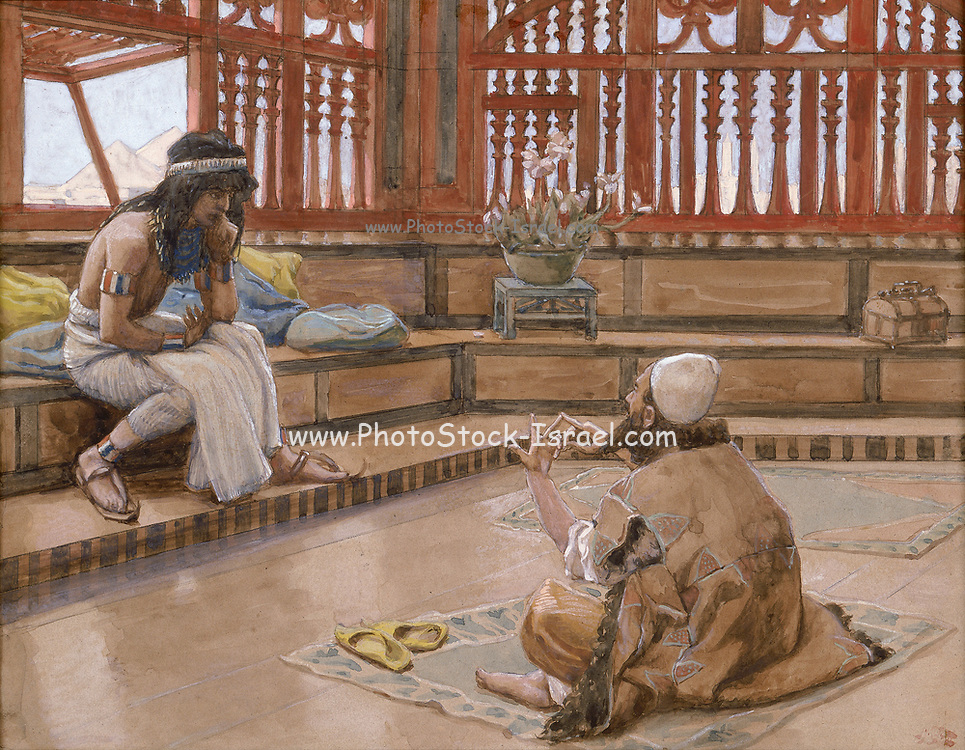 Joseph Converses with Judah, His Brother. Gouache paint on cardboard by James Tissot  1896-1902
