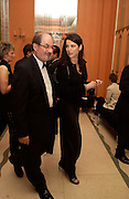 Salman Rushdie and Nigella Lawson, Bright Young Things Royal European charity premiere in Leicester Sq. and party afterwards at  Claridges, 28 September 2003. © Copyright Photograph by Dafydd Jones 66 Stockwell Park Rd. London SW9 0DA Tel 020 7733 0108 www.dafjones.com