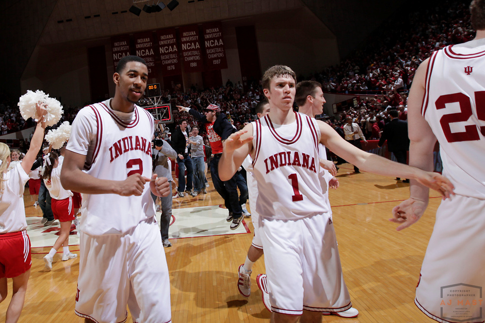 17 January 2010:Indiana forward Christian Watford (2) and Indiana guard Jordan Hulls (1)  as the Indiana Hoosiers played the Minnesota Golden Gophers in a college basketball game in Bloomington, Ind.
