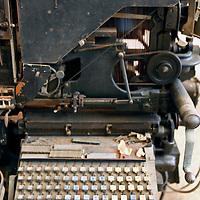Central America, Cuba, Caibarien. Antique Type Printer still used in Cuba.