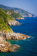 The rugged Ligurian Coast south of Vernazza, Cinque Terre, Liguria, Italy
