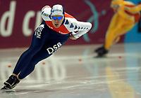 Skøyter: Verdenscup Heerenveen 12.01.2002. Jan Bos fra Nederland.<br /><br />Foto: Ronald Hoogendoorn, Digitalsport