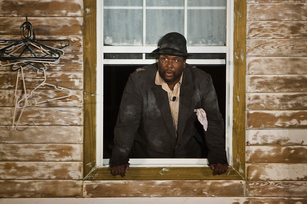 New Orleans born actor Wendell Pierce as Vladimir in Samuel Beckett's 'Waiting for Godot' in post-Katrina New Orleans, a project by Paul Chan and co-produced by Creative Time.