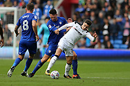 Tom Lawrence of Derby county holds off Sean Morrison of Cardiff city. EFL Skybet championship match, Cardiff city v Derby County at the Cardiff city stadium in Cardiff, South Wales on Saturday 30th September 2017.<br /> pic by Andrew Orchard, Andrew Orchard sports photography.