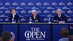 Executive Director of the Championships at The R&A, Johnnie Cole-Hamilton (left), Chairman of the Championship Committee Clive Brown (centre) and Chief Executive of the R&A Martin Slumbers during practice day four of The Open Championship 2017 at Royal Birkdale Golf Club, Southport.
