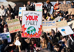 Edinburgh, Scotland, UK. 15 March, 2019. Students and school children who controversially are on strike from school take part in a School Strike 4 Climate demonstration outside the Scottish Parliament in Holyrood, Edinburgh.