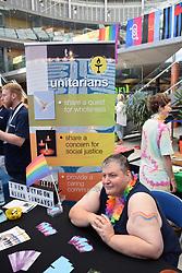Norwich Pride, 28 July 2018 UK - Octagon chapel, Unitarian church stall