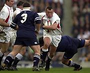 Twickenham, Surrey, 22nd March 2003,  RFU Twickenham Stadium, England, [Mandatory Credit; Peter Spurrier/Intersport Images]<br /> <br /> RBS Six Nations Rugby England v Scotland<br /> Steve Thompson on the run