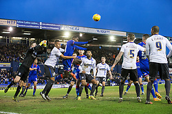 © Licensed to London News Pictures . 23/01/2016 . Oldham , UK . Bury clear the ball from their goalmouth as Oldham mount an unsuccessful attack . Oldham Athletic vs Bury at Boundary Park . Photo credit : Joel Goodman/LNP