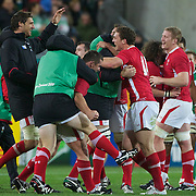 Wales celebrate their win at the full time whistle during the Ireland V Wales Quarter Final match at the IRB Rugby World Cup tournament. Wellington Regional Stadium, Wellington, New Zealand, 8th October 2011. Photo Tim Clayton...