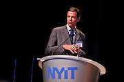 """Willem Houck, President, Park Pod, moderates the panel """"Trucks, Taxis, Rickshaws and More"""" duing Manhattan Chamber of Commerce's Transportation Transformation Global Summit at NYIT in New York on April 26, 2012."""