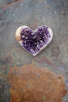 Amythyst stone heart. Amethyst is a meditative and calming stone which works in the emotional, spiritual, and physical planes to promote calm, balance, and peace. It is also used to eliminate impatience. This file exclusive prints and posters to The World Art Group Library.